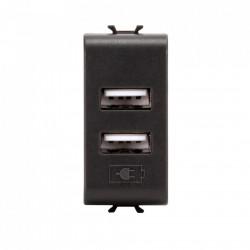 Priza Gewiss GW12450 Chorus - Priza dubla USB, 2.1A, 5V Negru