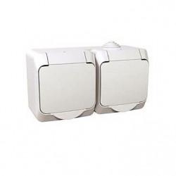Priza Schneider WDE000523 Cedar - Priza dubla schuko, capac alb IP44