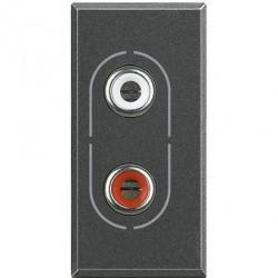 Priza Semnal Bticino HS4281 Axolute - Conector audio dublu RCA, 1M, negru