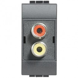 Priza Semnal Bticino L4269R Living Light - Conector dublu RCA, 1M, negru