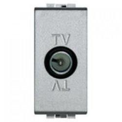 Priza TV/SAT Bticino NT4202PT Living Light - Priza TV intermediara cu adaptor impedanta 75 Ohm, atenuare 10dB, 1M, argintiu