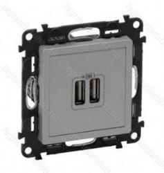 Priza USB Legrand 753312 Valena Life - Incarcator USB dublu, 5V, 1500mA, aluminiu