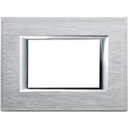 Rama Bticino HA4803CR Axolute - Rama metalica, rectangulara, 3 module, st. italian, brushed chrome