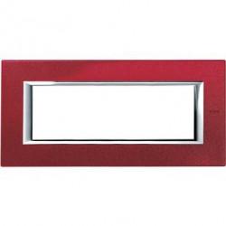 Rama Bticino HA4806RC Axolute - Rama metalica, rectangulara, 6 module, st. italian, red china