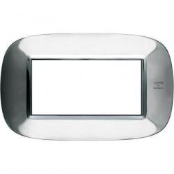 Rama Bticino HB4804AXL Axolute - Rama metalica, eliptica 4 module, st italian, shiny stainelss steel
