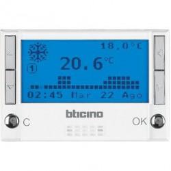 Termostat Bticino HD4451 Axolute - Termostat de ambianta cu temporizator, 3 module, alb