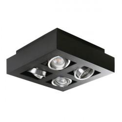 Corp iluminat Kanlux STOBI 26836 - Plafoniera led 4x25W, Gu10, IP20, negru/inox