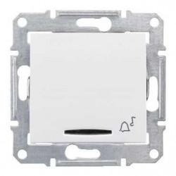 Intrerupator Schneider SDN1700121 Sedna - Intrerupator cu revenire cu simbol sonerie si cu indicator luminos rosu, 10 AX - 12 V, alb