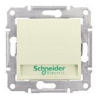 Intrerupator Schneider SDN1700447 Sedna - Intrerupator cu revenire cu suport eticheta si cu indicator luminos rosu, 10 AX - 12 V, bej