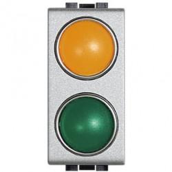 Lampa Bticino NT4372AV Living Light - Lampa semnalizare cu difuzor portocaliu + verde, 1M, argintiu