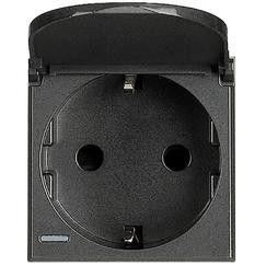 Priza Bticino HS4141PW Axolute - Priza standard german, cu capac, 2P+T, 16A, 250V, 2M, anthracite/negru