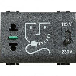Priza Bticino L4177 Living Light - Priza pentru aparat de ras, 230V 3M, negru