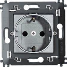 Priza Bticino NT4141MA Living Light - Priza standard german cu contacte laterale pentru impamantare, borne automate, 2P+T, 16A, 250V, 2M, argintiu