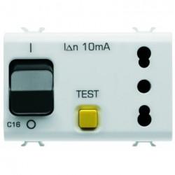 Priza Gewiss GW10321 Chorus - Priza cu disjunctor diferential, 3M, 1PN, 16A, alb