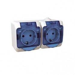 Priza Schneider WDE000525 - Priza dubla schuko cu capac IP44, alb