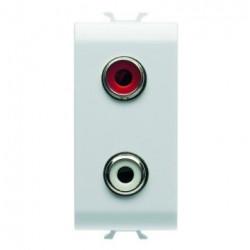 Priza semnal Gewiss GW10453 Chorus - Connector dublu RCA, 1M, alb