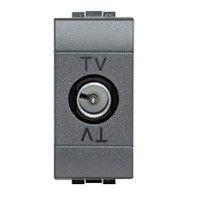Priza TV/SAT Bticino L4202PT Living Light - Priza TV intermediara cu adaptor impedanta 75 Ohm, atenuare 10dB, 1M, negru