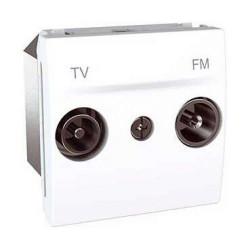 Priza TV Schneider MGU3.452.18 Unica - Priza TV/FM de capat, atenuare 13.5dB, 2M, alb