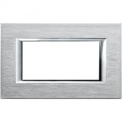 Rama Bticino HA4804CR Axolute - Rama metalica, rectangulara, 4 module, st. italian, brushed chrome