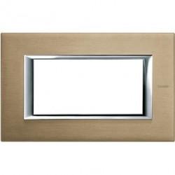 Rama Bticino HA4804NX Axolute - Rama metalica, rectangulara, 4 module, st. italian, brushed titanium