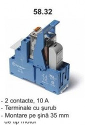Releu Finder 583280240060SPA - Releu comutatie 24V, AC, 2C, 10A