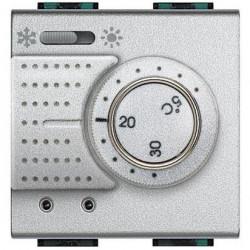 Termostat Bticino NT4442FH Living Light - termostat de ambianta cu inversor vara/iarna si sonda incalzire pardoseala, 2M, 2A, argintiu
