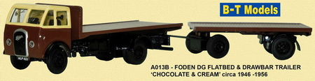 BASE TOYS MODELS 1:76 - FODEN DG F/BED & TRAILER - CHOCOLATE/CREAM