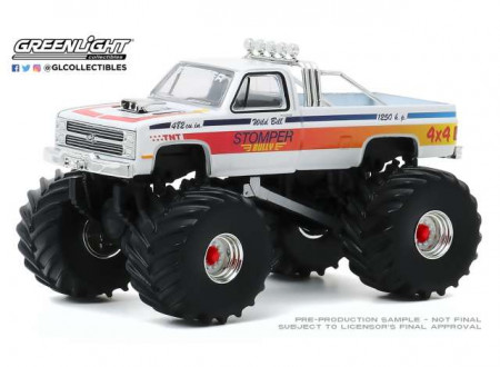 GREENLIGHT 1:64 - CHEVY C-20 1984 MONSTER TRUCK STOMPER BULLY *KINGS OF CRUNCH SERIES 7*, WHITE/RED