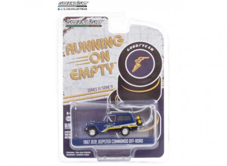 GREENLIGHT 1:64 - JEEP JEEPSTER COMMANDO 1967 OFF-ROAD GOODYEAR RACING *RUNNING ON EMPTY SERIES 11*, BLUE