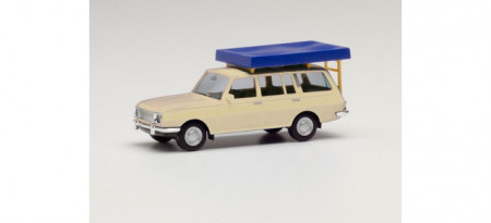 HERPA 1:87 - Wartburg 353 `66 Tourist with Roof tent, pearl white