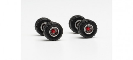 HERPA 1:87 - Wheel set off-road tires 11.00 x 20 with steel rims, twin tires for trailers / idler rims (content: 2 axles)