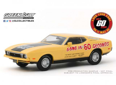 GREENLIGHT 1:43 - FORD MUSTANG MACH 1 1973 ELEANOR *GONE IN SIXTY SECONDS 1974*, YELLOW/BLACK