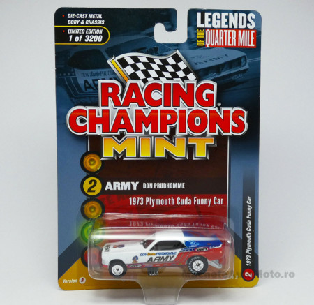 RACING CHAMPIONS 1:64 - PLYMOUTH CUDA 1973 FUNNY CAR *ARMY* DON PRUDHOMME
