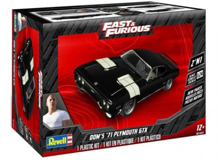 REVELL 1:25 - PLYMOUTH GTX 1971 FROM THE FAST AND THE FURIOUS, PLASTIC MODELKIT