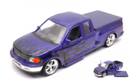 WELLY 1:24 - FORD F-150 FLARESIDE SUPERCAB PICK UP 1999 PURPLE W/BLACK FLAMES