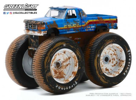 GREENLIGHT 1:64 - FORD F-250 1996 MONSTER TRUCK (DIRTY VERSION) BIGFOOT #7 *KINGS OF CRUNCH SERIES 7*, BLUE