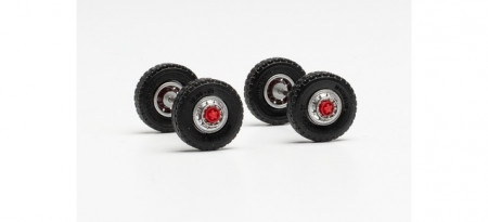 HERPA 1:87 - Wheel set road tires 12.00 x 20 with steel rim with tread for front axle Scania LB 76 (content: 2 axles)