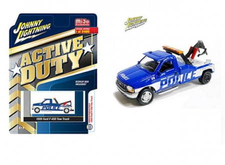 JOHNNY LIGHTNING 1:64 - FORD F-450 1999 TOW TRUCK POLICE, BLUE/WHITE