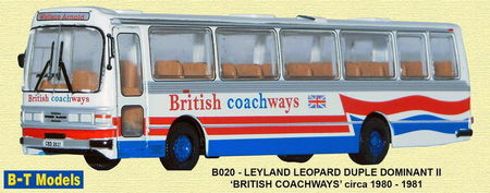 BASE TOYS MODELS 1:76 - LEYLAND LEOPARD DUPLE - BRITISH COACHWAYS