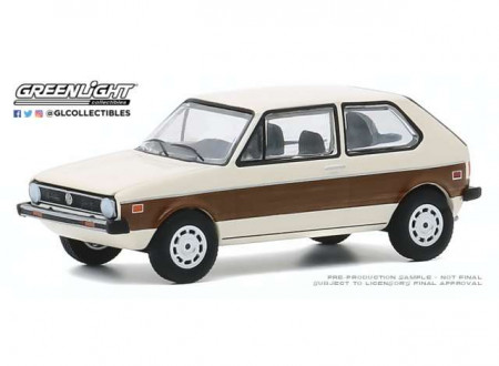 GREENLIGHT 1:64 - VOLKSWAGEN RABBIT 1977 WITH WOODY GRAPHICS *CLUB VEE-DUB SERIES 11*, CREAM/BROWN