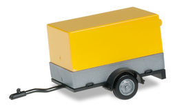 HERPA 1:87 - Car trailer with open canvas, sign yellow