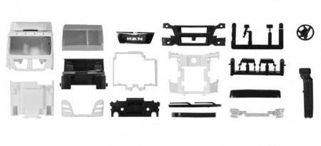 HERPA 1:87 - Driver's cabin MAN TGX XL Euro 6 with side skirting and roof spoiler Content: 2 pcs.