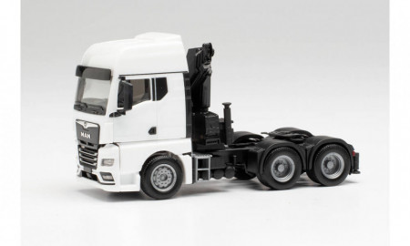 HERPA 1:87 - MAN TGX GX 6x4 tractor with crane and extendable supports, white