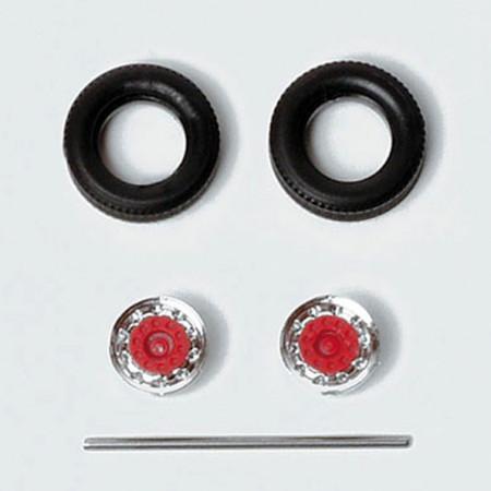 HERPA 1:87 - Tires for semitrailer / trailer (chromium / red, 9 Sets)