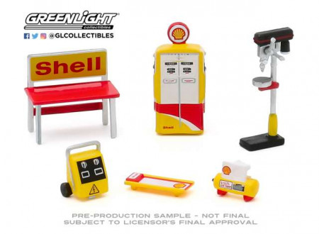 GREENLIGHT 1:64 - SHELL OIL *SHOP TOOL ACCESSORIES SERIES 3*, YELLOW/WHITE/RED