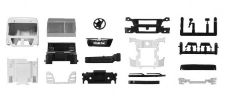 HERPA 1:87 - Driver's cabin MAN TGX XLX Euro 6 without side skirting and roof spoiler Content: 2 pcs.