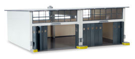 HERPA 1:87 - Military: Building set 2-stall repair facility, length 220 mm x width 190 mm x height 85 mm