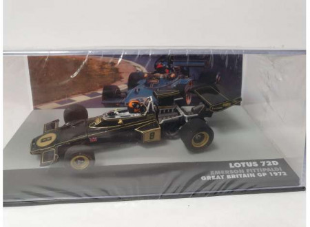 MAGAZINE MODELS 1:43 - LOTUS 72D 1972 JOHN PLAYER TEAM LOTUS #8 EMERSON FITTIPALDI WINNER GREAT BRITAIN GP F1, BLACK/GOLD