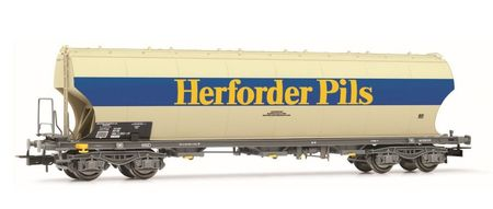 RIVAROSSI 1:87 - DB, ROUND-SIDED HOPPER WAGON 'HERFORDER PI LS', GREY, EPOCH IV