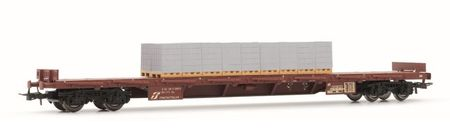 Rivarossi HO (1:87) - Set x 2 flat wagons Rgmms and Rgs, loaded with breeze blocks